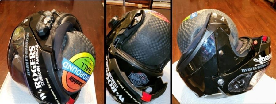 How to stretch a motorcycle helmet with a ball